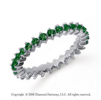 1 Carat Emerald Platinum Round Open Prong Eternity Band