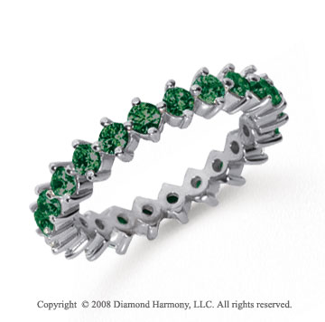 1 1/2 Carat Emerald Platinum Round Open Prong Eternity Band