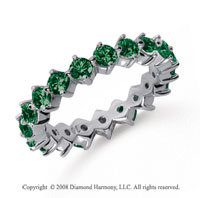 2 Carat Emerald Platinum Round Open Prong Eternity Band