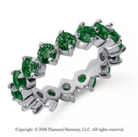 3 Carat Emerald Platinum Round Open Prong Eternity Band