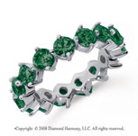4 Carat Emerald Platinum Round Open Prong Eternity Band