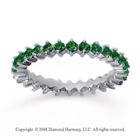 1 Carat Emerald 14k White Gold Round Open Prong Eternity Band