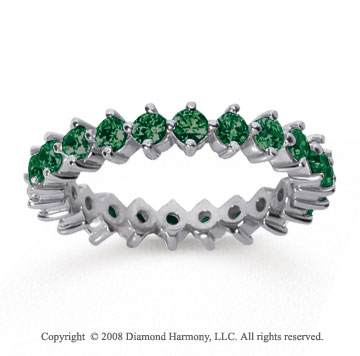 1 1/2 Carat Emerald 14k White Gold Round Open Prong Eternity Band