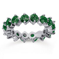3 1/2 Carat Emerald 14k White Gold Round Open Prong Eternity Band