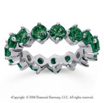 4 Carat Emerald 14k White Gold Round Open Prong Eternity Band