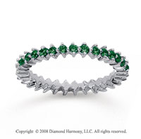 3/5 Carat Emerald 18k White Gold Round Open Prong Eternity Band