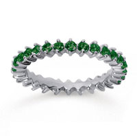 1 Carat Emerald 18k White Gold Round Open Prong Eternity Band