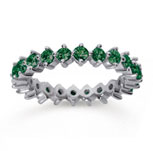 1 1/2 Carat Emerald 18k White Gold Round Open Prong Eternity Band