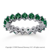 2 Carat Emerald 18k White Gold Round Open Prong Eternity Band