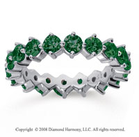 2 1/2 Carat Emerald 18k White Gold Round Open Prong Eternity Band