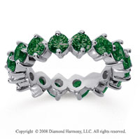 3 Carat Emerald 18k White Gold Round Open Prong Eternity Band