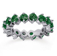 3 1/2 Carat Emerald 18k White Gold Round Open Prong Eternity Band