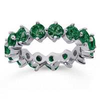 4 Carat Emerald 18k White Gold Round Open Prong Eternity Band