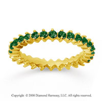 1 Carat Emerald 14k Yellow Gold Round Open Prong Eternity Band