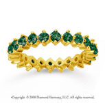 1 1/2 Carat Emerald 14k Yellow Gold Round Open Prong Eternity Band