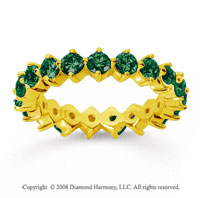 2 Carat Emerald 14k Yellow Gold Round Open Prong Eternity Band