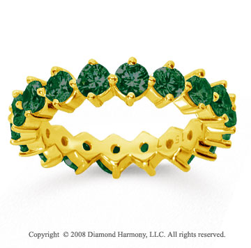 2 1/2 Carat Emerald 14k Yellow Gold Round Open Prong Eternity Band