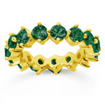4 Carat Emerald 14k Yellow Gold Round Open Prong Eternity Band