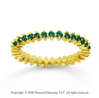 3/5 Carat Emerald 18k Yellow Gold Round Open Prong Eternity Band