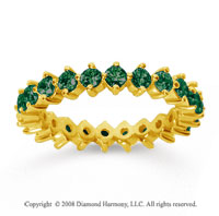 1 1/2 Carat Emerald 18k Yellow Gold Round Open Prong Eternity Band