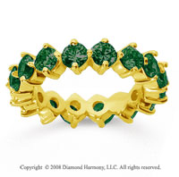 3 1/2 Carat Emerald 18k Yellow Gold Round Open Prong Eternity Band