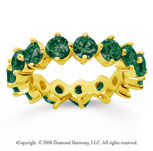 4 Carat Emerald 18k Yellow Gold Round Open Prong Eternity Band