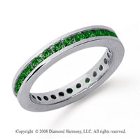 3/4 Carat Emerald Platinum Channel Eternity Band