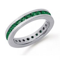 1 Carat Emerald Platinum Channel Eternity Band
