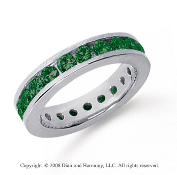 1 1/2 Carat Emerald Platinum Channel Eternity Band