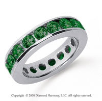 3 Carat Emerald Platinum Channel Eternity Band
