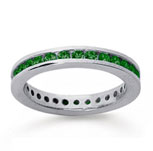 3/4 Carat Emerald 14k White Gold Channel Eternity Band