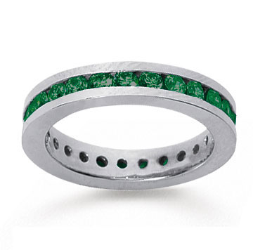 1 Carat Emerald 14k White Gold Channel Eternity Band