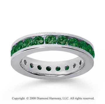 1 1/2 Carat Emerald 14k White Gold Channel Eternity Band