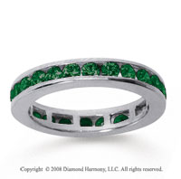 1/2 Carat Emerald 18k White Gold Channel Eternity Band