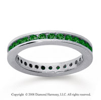3/4 Carat Emerald 18k White Gold Channel Eternity Band