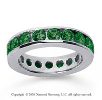 3 Carat Emerald 18k White Gold Channel Eternity Band