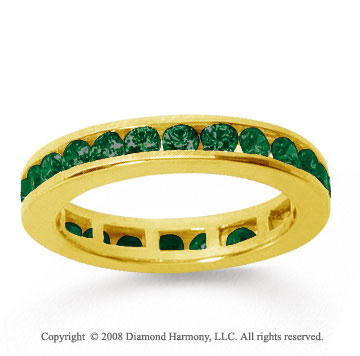 1/2 Carat Emerald 14k Yellow Gold Channel Eternity Band