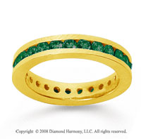 1 Carat Emerald 14k Yellow Gold Channel Eternity Band