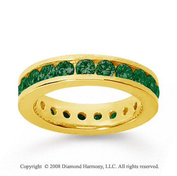 1 1/2 Carat Emerald 14k Yellow Gold Channel Eternity Band