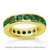 3 Carat Emerald 14k Yellow Gold Channel Eternity Band