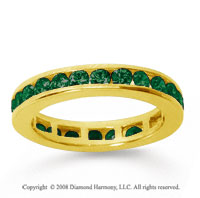1/2 Carat Emerald 18k Yellow Gold Channel Eternity Band