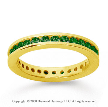 3/4 Carat Emerald 18k Yellow Gold Channel Eternity Band