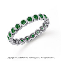 1/2 Carat Emerald Platinum Round Bezel Eternity Band