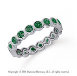 1 Carat Emerald Platinum Round Bezel Eternity Band