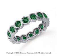 1 1/2 Carat Emerald Platinum Round Bezel Eternity Band