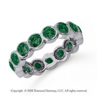 2 Carat Emerald Platinum Round Bezel Eternity Band
