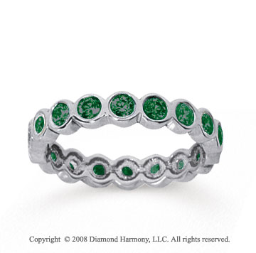 1 Carat Emerald 14k White Gold Round Bezel Eternity Band