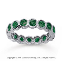 1 1/2 Carat Emerald 14k White Gold Round Bezel Eternity Band
