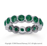2 Carat Emerald 14k White Gold Round Bezel Eternity Band