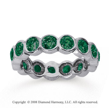 2 1/2 Carat Emerald 14k White Gold Round Bezel Eternity Band